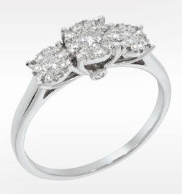 trippel rosett ring hvg 0,50ct