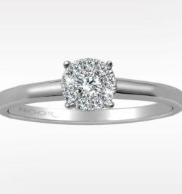 rosett ring med diamanter i hvittdull